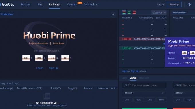 Houbi Prime niêm yết giá HT cho dự án IEO TOP Network